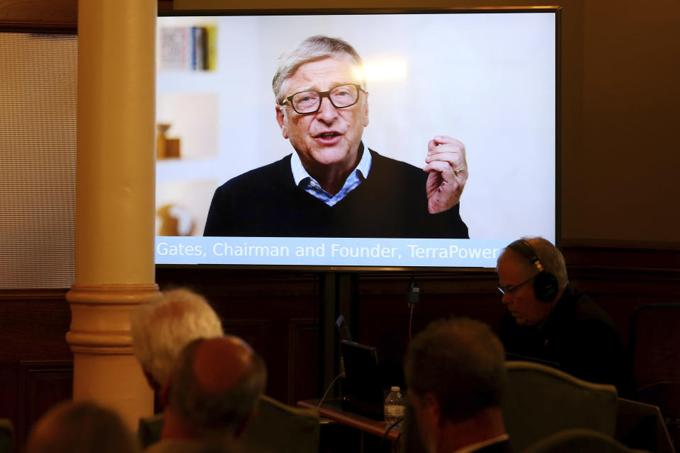 """TerraPower Founder and Chairman Bill Gates speaks to the crowd in a recorded video message during the press conference Wyoming Capitol, Wednesday, June 2, 2021, in Cheyenne, Wyo., announcing efforts to advance a Natrium reactor demonstration project. """"We think Natrium will be a game-changer for the energy industry,"""" Gates said by video link to a news conference hosted by Gov. Mark Gordon. """"Wyoming has been a leader in energy for over the century and we hope our investment in Natrium will help Wyoming to stay in the lead for many decades to come."""" (Michael Cummo/The Wyoming Tribune Eagle via AP)"""