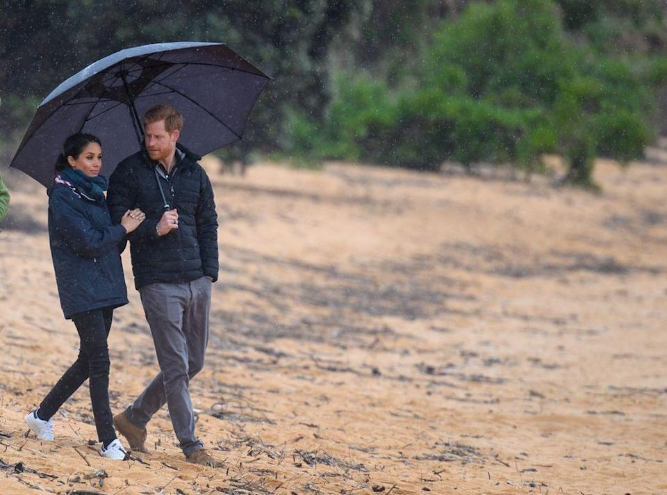 <p>The Duke and Duchess of Sussex escaped the U.K. for the dreamy travel destination that is New Zealand—but their hometown weather caught up with them regardless.<br></p>