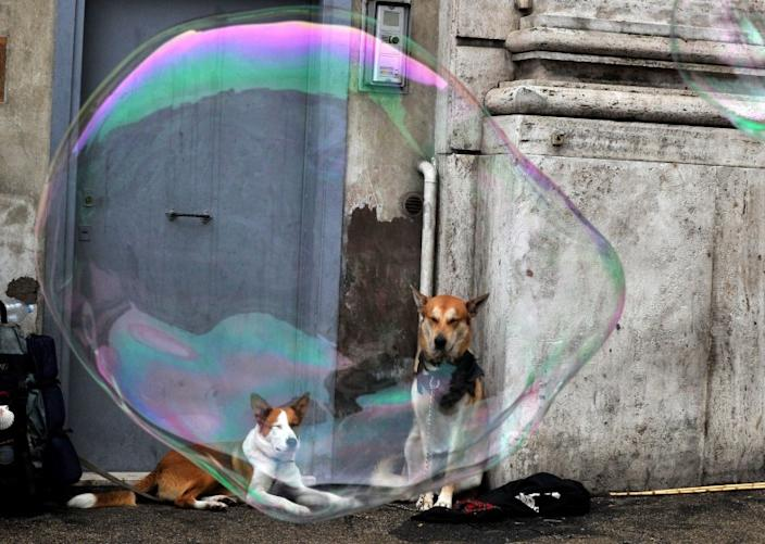 "Carefully blowing soap bubbles is one simple exercise you can do to feel more mindful and less anxious. <span class=""copyright"">(Tiziana Fabi / AFP/Getty Images)</span>"
