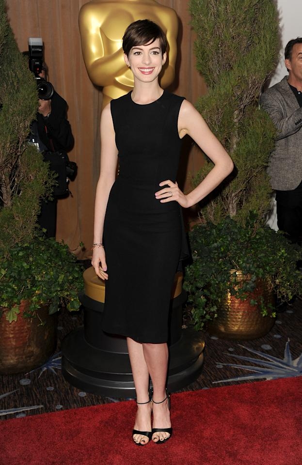 Anne Hathaway attends the 85th Academy Awards Nominations Luncheon at The Beverly Hilton Hotel on February 4, 2013 in Beverly Hills, California.  (Photo by Kevin Winter/Getty Images)