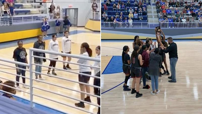 The school game in Oklahoma at the centre of a controversy involving a basketball announcer.