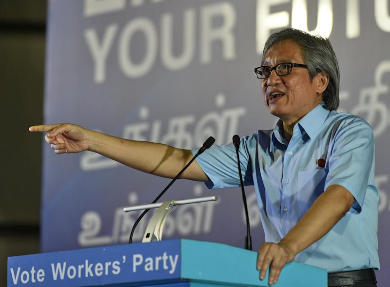 Chen Show Mao, opposition Workers' Party (WP) candidate speaks at a rally ahead of the general election in Singapore on September 2, 2015. Campaigning for Singapore's September 11 election began September 1, with a resurgent opposition seeking a greater political role as voters chafe at immigration and high living costs. AFP PHOTO / ROSLAN RAHMAN (Photo credit should read ROSLAN RAHMAN/AFP via Getty Images)