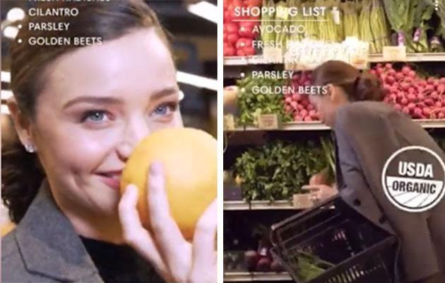 Miranda Kerr is all about organic produce - its the one thing all her purchases have in common. Photo: Snapchat/Harper's Bazaar