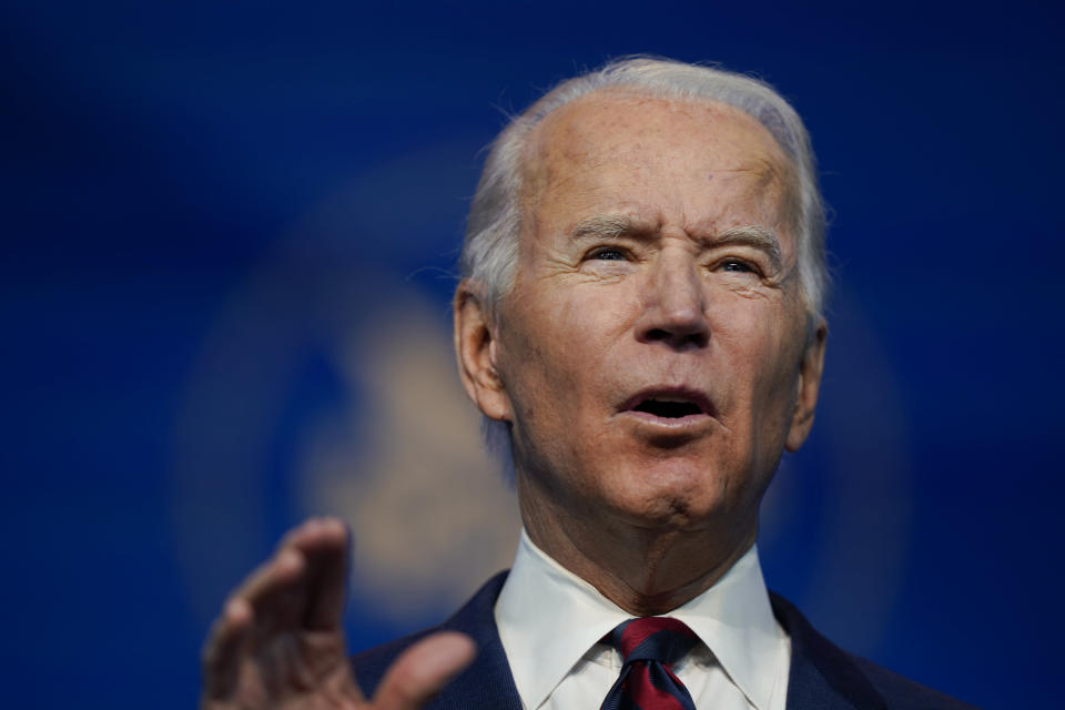 President-elect Joe Biden announces his climate and energy team nominees and appointees at The Queen Theater in Wilmington Del., Saturday, Dec. 19, 2020. (AP Photo/Carolyn Kaster)