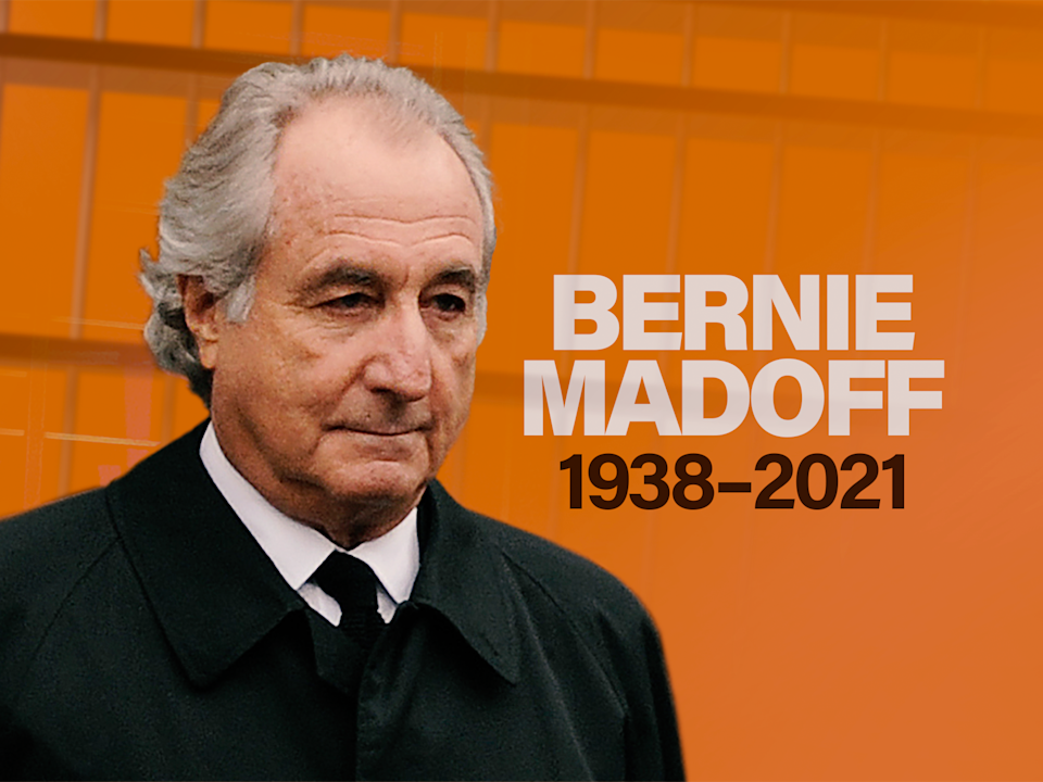 Bernard L. Madoff headshot, former Madoff Investment Securities LLC chairman who pleaded guilty to orchestrating a Ponzi scheme, on texture with 1938-2021 lettering, finished graphic