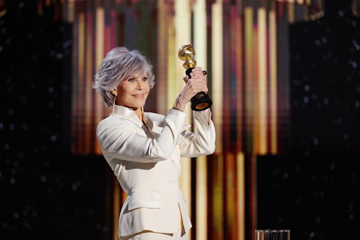Honoree Jane Fonda accepts the Cecil B. DeMille Award onstage at the 78th Annual Golden Globe Awards February 28, 2021 in Beverly Hills, California. / Credit: Rich Polk/NBCUniversal/NBCU Photo Bank via Getty Images