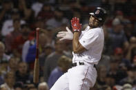 Boston Red Sox's Xander Bogaerts spins away from an inside pitch during the fifth inning of the team's baseball game against the Minnesota Twins at Fenway Park, Tuesday, Sept. 3, 2019, in Boston. (AP Photo/Elise Amendola)