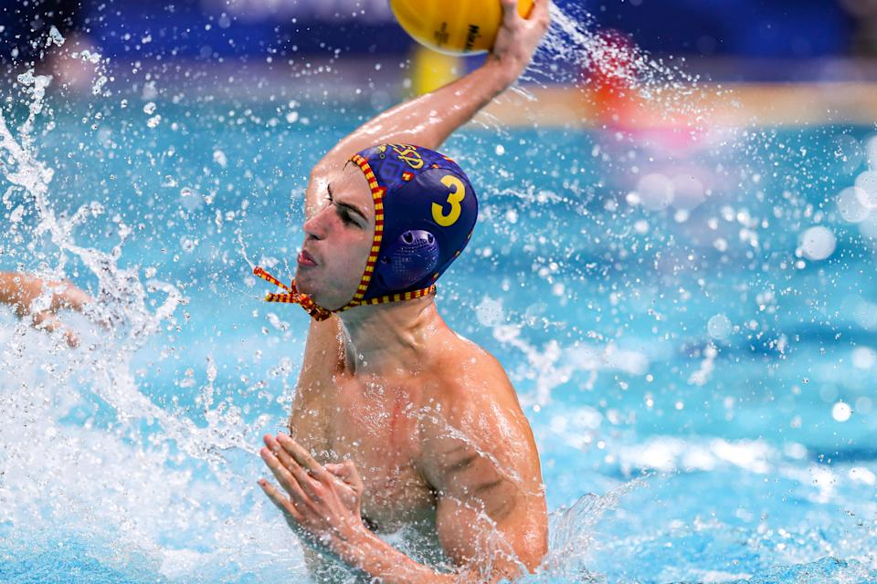 TOKYO, JAPAN - AUGUST 6: Alvaro Granados of Spain during the Tokyo 2020 Olympic Waterpolo Tournament men's Semi Final match between Serbia and Spain at Tatsumi Waterpolo Centre on August 6, 2021 in Tokyo, Japan (Photo by Marcel ter Bals/BSR Agency/Getty Images)