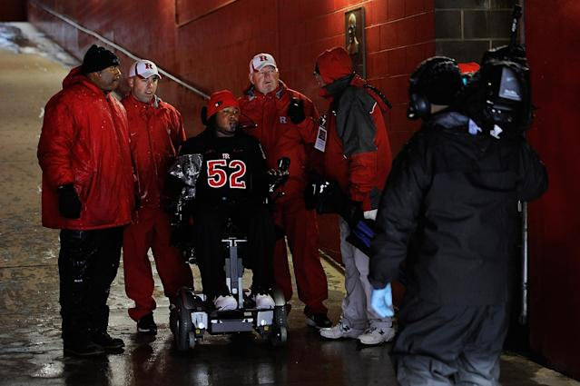 NEW BRUNSWICK, NJ - OCTOBER 29: Former Rutgers football player Eric LeGrand #52 prepares to lead the Rutgers Scarlet Knights onto the field before a game against West Virginia Mountaineers at High Point Solutions Stadium on October 29, 2011 in New Brunswick, New Jersey. LeGrand was paralyzed during a kickoff return in October 2010. (Photo by Patrick McDermott/Getty Images)