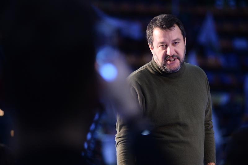 BOLOGNA, ITALY - NOVEMBER 14: Italian politician Matteo Salvini leader of Lega party attends a political meeting of Lega italian political party at PalaDozza on November 14, 2019 in Bologna, Italy. (Photo by Roberto Serra - Iguana Press/Getty Images)