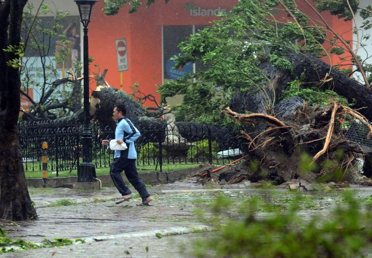 A resident runs past an uprooted tree as Typhoon Haiyan pounds Cebu City, in central Philippines on November 8, 2013