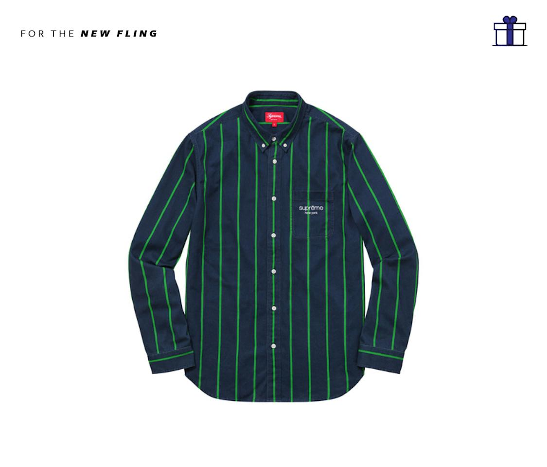 "<p>This pinstriped button up will surely be a hit for any guy that loves streetwear. Supreme Printed Stripe Shirt, $118,<a rel=""nofollow"" href=""http://www.supremenewyork.com/shop/shirts/ij3abtlw2/nie7kcngt""> supremenewyork.com</a> </p>"