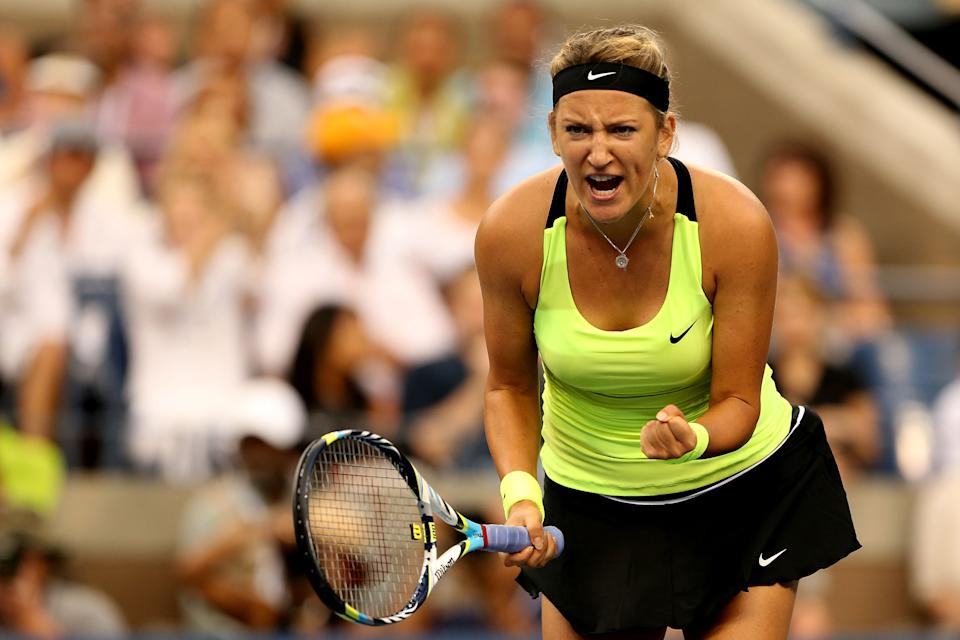 Victoria Azarenka of Belarus celebrates a point during the women's singles final match against Serena Williams of the United States on Day Fourteen of the 2012 US Open at USTA Billie Jean King National Tennis Center on September 9, 2012 in the Flushing neighborhood of the Queens borough of New York City. (Photo by Matthew Stockman/Getty Images)
