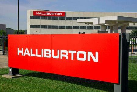 FILE PHOTO -  The company logo of Halliburton oilfield services corporate offices is seen in Houston