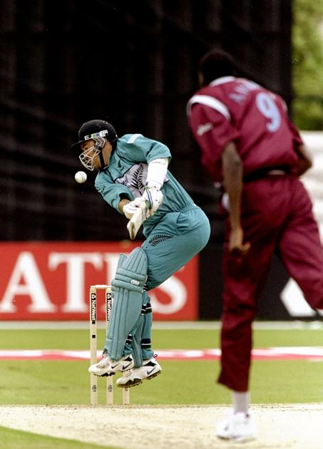 24 May 1999:  Craig McMillian of New Zealand challenged by a delivery from Curtly Ambrose of the West Indies during the Cricket World Cup Group B match played in Southampton, England. The West Indies won the game by 7 wickets. \ Mandatory Credit: Mike Hewitt /Allsport