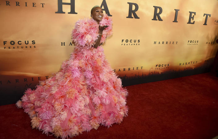"""FILE - Cynthia Erivo arrives at the Los Angeles premiere of """"Harriet"""" on Oct. 29, 2019. Erivo turns 34 on Jan. 8. (Photo by Chris Pizzello/Invision/AP)"""