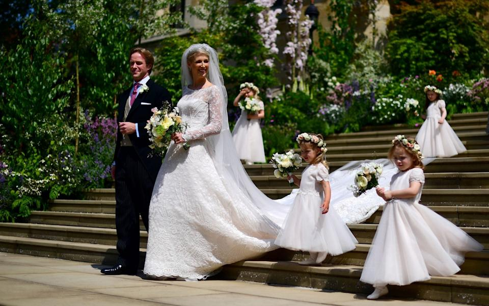 When Lady Gabriella Windsor married Thomas Kingston last year, she did so in a pale-pink hued dress - Victoria Jones / POOL / AFP)VICTORIA JONES/AFP/Getty Images