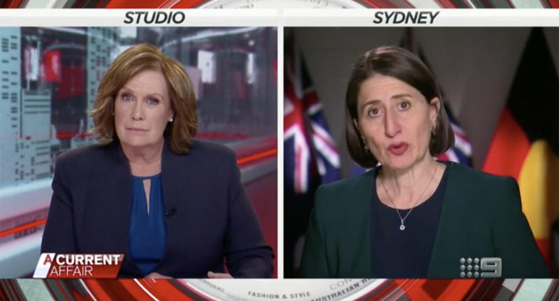 Gladys Berejiklian tells Tracy Grimshaw that locking NSW down is not an option. Source: Channel 9