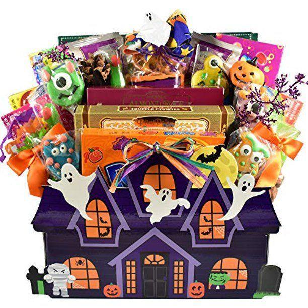 """<p><strong>Best Gift Baskets With Style</strong></p><p>bestgiftbasketswithstyle.com</p><p><strong>$69.99</strong></p><p><a href=""""https://bestgiftbasketswithstyle.com/hauntingly-good-halloween-gift-basket.html"""" rel=""""nofollow noopener"""" target=""""_blank"""" data-ylk=""""slk:Shop Now"""" class=""""link rapid-noclick-resp"""">Shop Now</a></p><p>IF DIY isn't your thing, you can always buy a spooky basket. This one is a splurge, but comes with seven boxes of candy, four different types of cookies and assorted truffles, among other goodies, and there's no rule saying you can't buy it for yourself. </p>"""