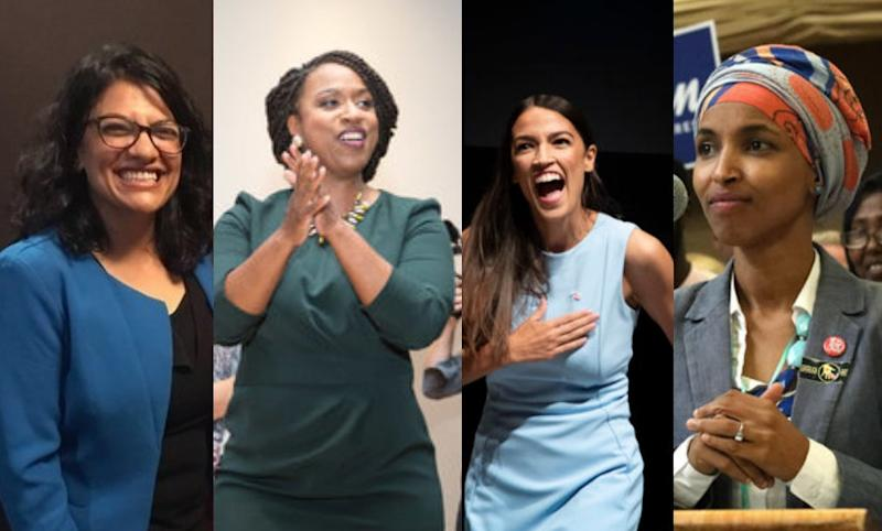 New Democratic congresswomen: Rashida Tlaib in Michigan, Ayanna Pressley in Massachusetts, Alexandria Ocasio-Cortez in New York and Ilhan Omar in Minnesota.