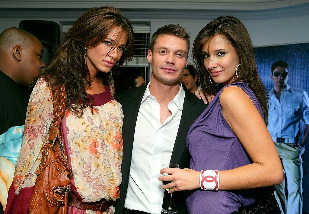"Ryan Seacrest poses with two lovely ladies at Rock and Republic's wrap party held at the Chateau Marmont in West Hollywood. Todd Williamson/<a href=""http://www.wireimage.com"" target=""new"">WireImage.com</a> - September 16, 2007"
