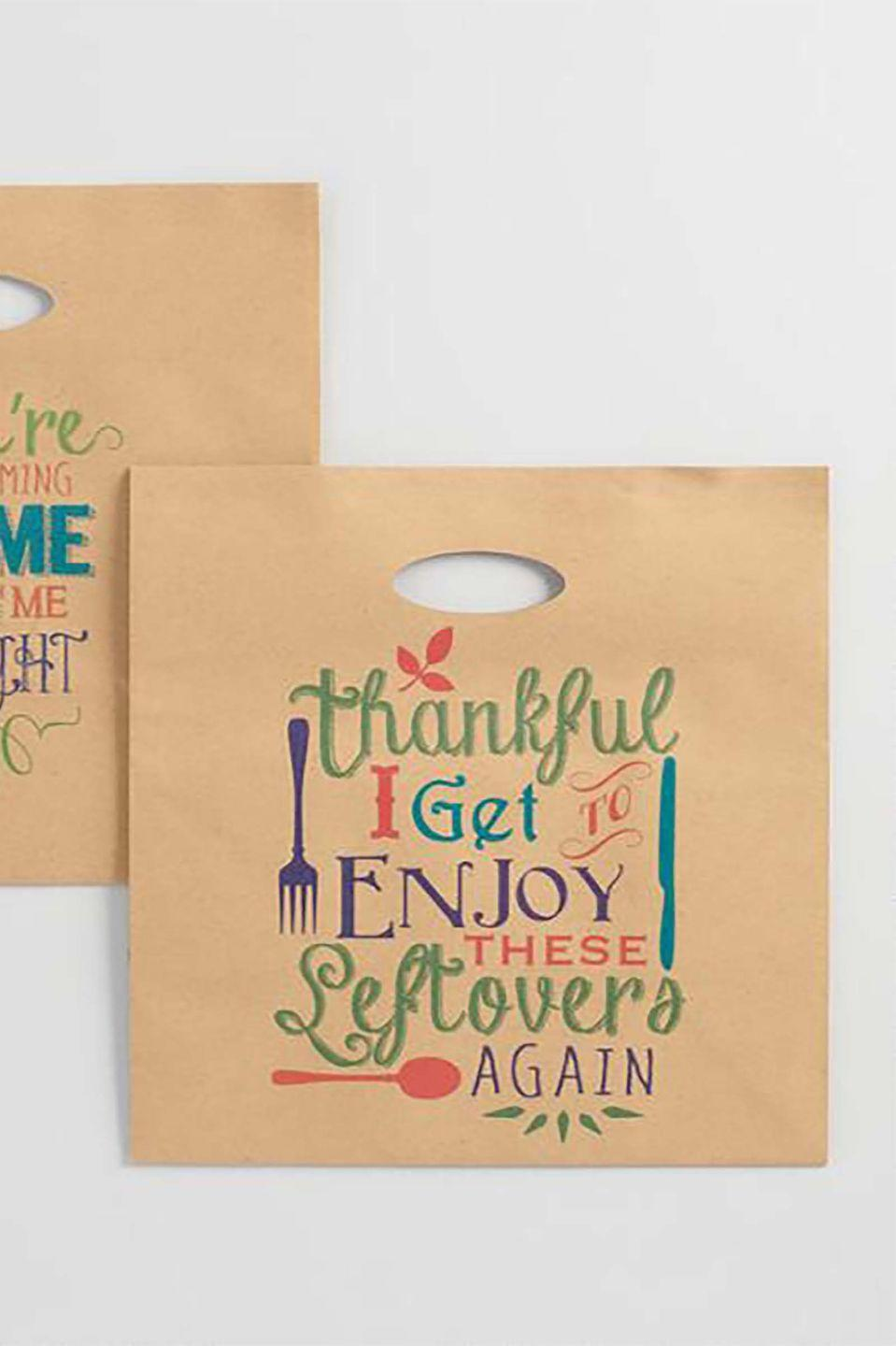 """<p>So long, mismatched Tupperware! This year, pack up your Thanksgiving leftovers in stylish to-go bags from Cost Plus World Market. They'll let guests enjoy a second helping without the guilt of unreturned containers.<br></p><p><strong><a class=""""link rapid-noclick-resp"""" href=""""https://go.redirectingat.com?id=74968X1596630&url=https%3A%2F%2Fwww.etsy.com%2Fsearch%3Fq%3Dpaper%2Bleftover%2Bthanksgiving%2Bbag&sref=https%3A%2F%2Fwww.countryliving.com%2Fentertaining%2Fg1371%2Fthanksgiving-decorations%2F"""" rel=""""nofollow noopener"""" target=""""_blank"""" data-ylk=""""slk:SHOP LEFTOVER THANKSGIVING BAGS"""">SHOP LEFTOVER THANKSGIVING BAGS</a></strong></p>"""