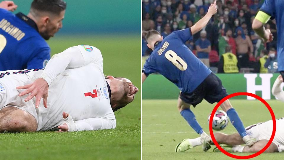 Seen here, Jorginho catches Jack Grealish on the leg with his studs in extra time.
