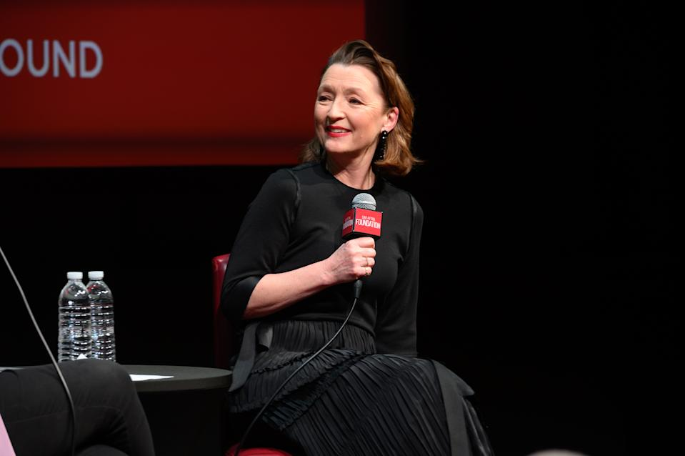 Lesley Manville attends a career retrospective conversation at SAG-AFTRA Foundation on February 18, 2020. (Photo by Noam Galai/Getty Images)