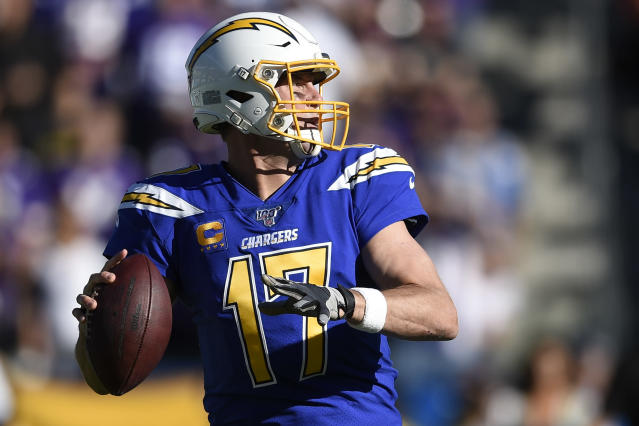 Los Angeles Chargers quarterback Philip Rivers looks to throw a pass during the first half of an NFL football game against the Minnesota Vikings, Sunday, Dec. 15, 2019, in Carson, Calif. (AP Photo/Kelvin Kuo)