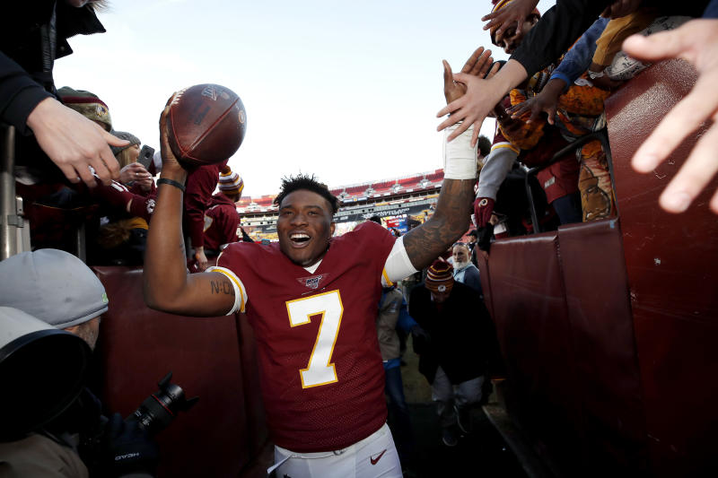 Washington quarterback Dwayne Haskins celebrates his first win as an NFL starter. (AP/Alex Brandon)