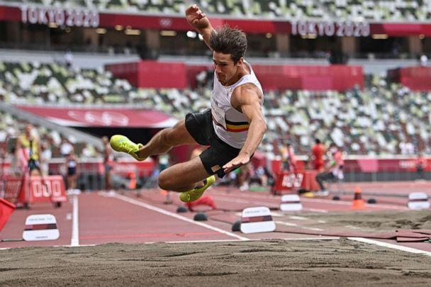 PHOTO: Belgium's Thomas Van Der Plaetsen injures himself while competing in the men's decathlon long jump during the Tokyo 2020 Olympic Games at the Olympic Stadium in Tokyo on Aug. 4, 2021. (Ben Stansall/AFP via Getty Images)