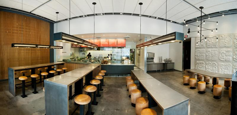 Interior of an empty Chipotle restaurant in California.