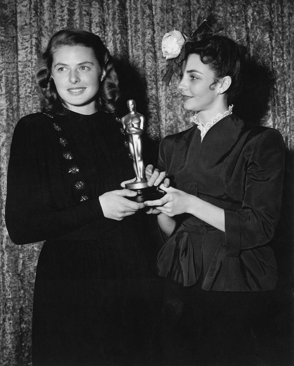 <p>Ingrid wore an elegant black number with jeweled details on one side and kept her hair in perfect curls when she accepted her Oscar for <em>Gaslight</em>. (She had a role in the film <em>Casablanca</em> three years prior, but received no nominations.)</p>