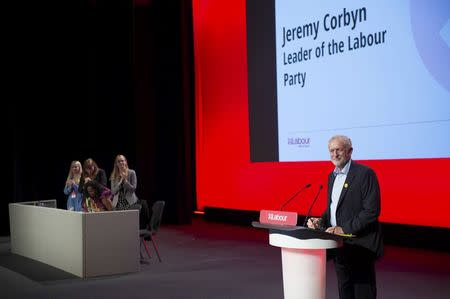 Newly re-elected opposition Labour Party leader, Jeremy Corbyn, speaks during Labour's women's conference on the eve of the Labour Party annual conference, in Liverpool, Britain September 24, 2016. REUTERS/Stefan Rousseau/Pool