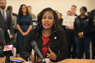 St. Louis Treasurer Tishaura Jones speaks at a press conference at City Hall, Tuesday, Oct. 24, 2017, in St. Louis, Mo. Jones is one of four candidates seeking to replace retiring Mayor Lyda Krewson. (David Carson/St. Louis Post-Dispatch via AP)