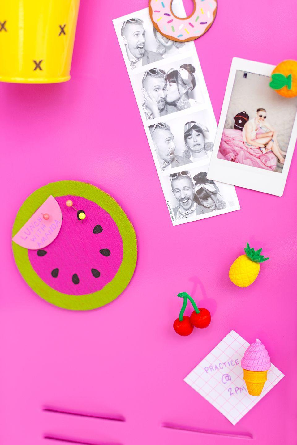"""<p>Why should we limit <a href=""""https://www.goodhousekeeping.com/food-recipes/a27198230/how-to-cut-a-watermelon/"""" rel=""""nofollow noopener"""" target=""""_blank"""" data-ylk=""""slk:watermelon"""" class=""""link rapid-noclick-resp"""">watermelon</a> to only one season? Exactly. Now, you'll actually like sitting at your desk.</p><p><em><a href=""""http://www.awwsam.com/2017/08/diy-locker-decoration-ideas.html"""" rel=""""nofollow noopener"""" target=""""_blank"""" data-ylk=""""slk:Get the tutorial at Aww Sam »"""" class=""""link rapid-noclick-resp"""">Get the tutorial at Aww Sam »</a></em> </p>"""