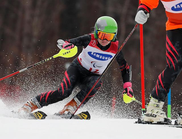 Alpine Skiing - Pyeongchang 2018 Winter Paralympics - Women's Slalom - Visually Impaired - Run 1 - Jeongseon Alpine Centre - Jeongseon, South Korea - March 18, 2018 - Aleksandra Frantseva, a Paralympic Athlete from Russia, and her guide. REUTERS/Paul Hanna