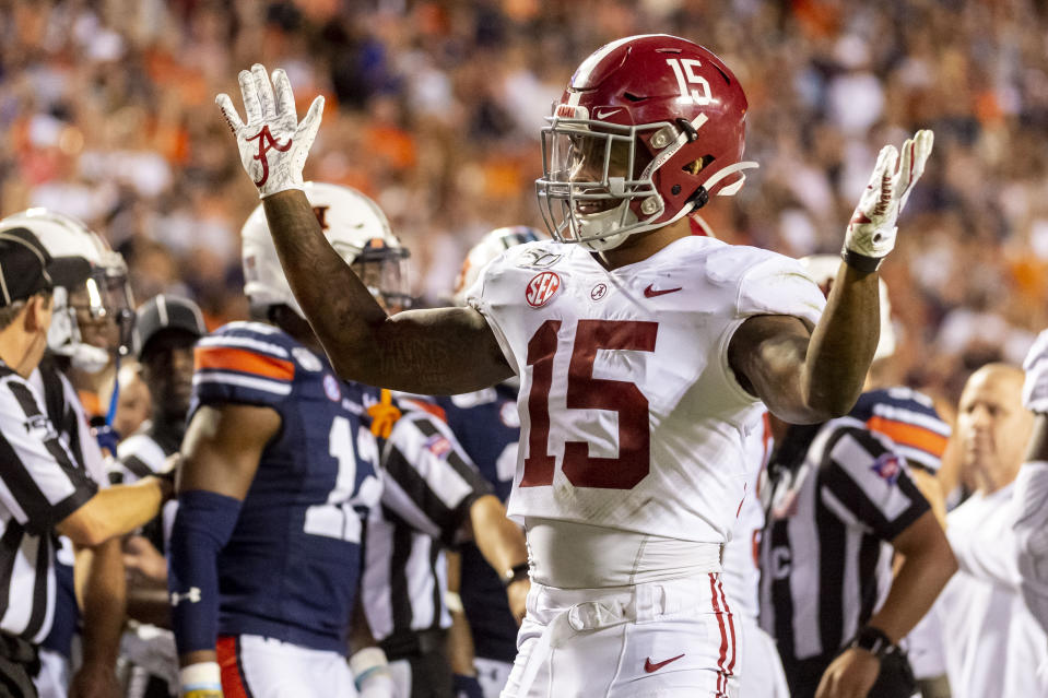 Alabama defensive back Xavier McKinney (15) should hear his name called in the second round of the NFL draft. (AP Photo/Vasha Hunt)