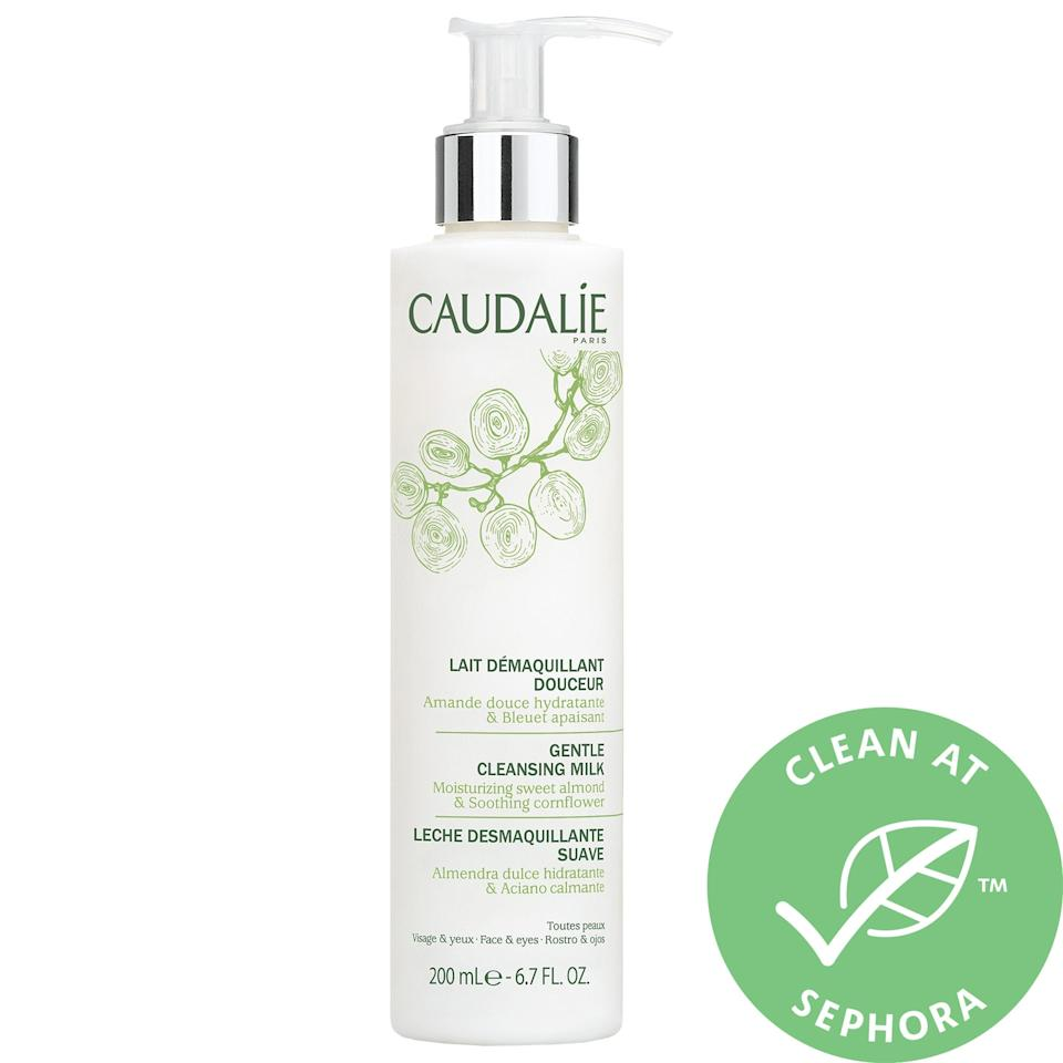 """<h3>Caudalie Gentle Cleansing Milk</h3><br>Kindly but swiftly whisk away dirt, makeup, and oil with this milk cleanser infused with sweet almond oils and oat extract.<br><br><strong>Caudalie</strong> Gentle Cleansing Milk, $, available at <a href=""""https://go.skimresources.com/?id=30283X879131&url=https%3A%2F%2Ffave.co%2F2XRUrZh"""" rel=""""nofollow noopener"""" target=""""_blank"""" data-ylk=""""slk:Sephora"""" class=""""link rapid-noclick-resp"""">Sephora</a>"""