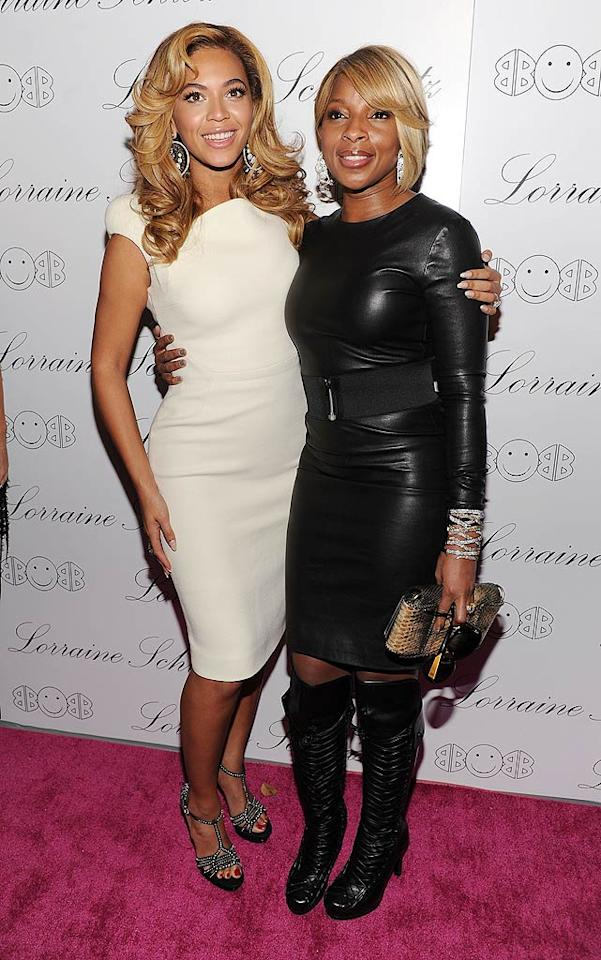 "Sporting an Antonio Berardi pencil dress, Cesare Paciotti heels, and Lorraine Schwartz jewels, hostess with the mostess Beyonce rocked the red carpet with fellow musician Mary J. Blige at the Lorraine Schwartz ""2BHAPPY"" jewelry collection launch in NYC Monday night. Dimitrios Kambouris/<a href=""http://www.wireimage.com"" target=""new"">WireImage.com</a> - November 22, 2010"