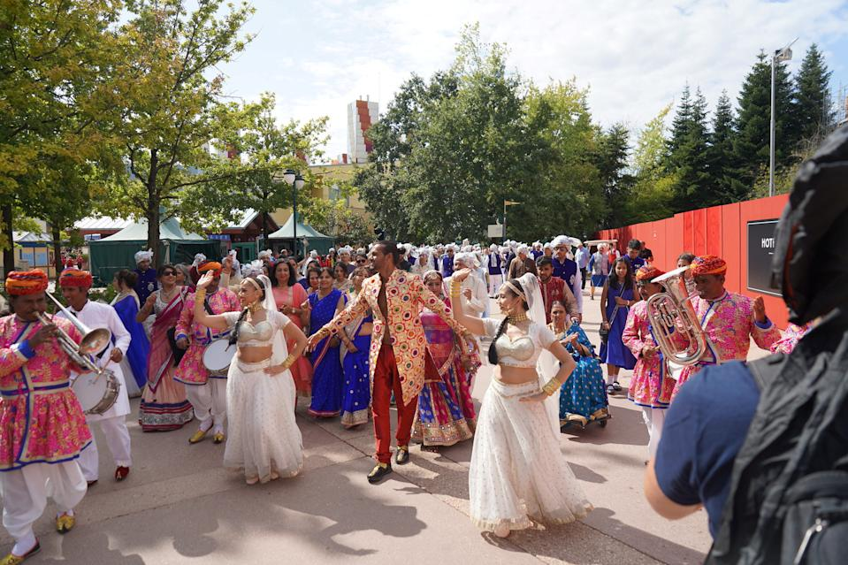 Guests sat down for an Aladdin-inspired feast and danced until the early hours of the morning [Photo: SWNS]
