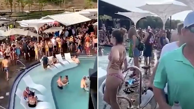 Pictured is the large crowd at the pool party. Source: KMOV-TV