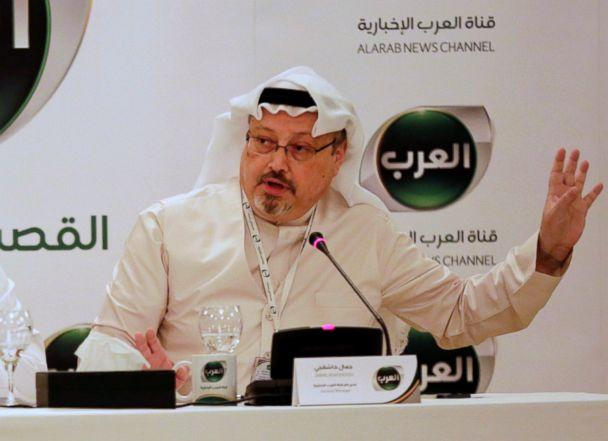 PHOTO: Jamal Khashoggi, then general manager of a new Arabic news channel speaks during a press conference, in Manama, Bahrain, Dec. 15, 2014. (Hasan Jamali/AP, FILE)