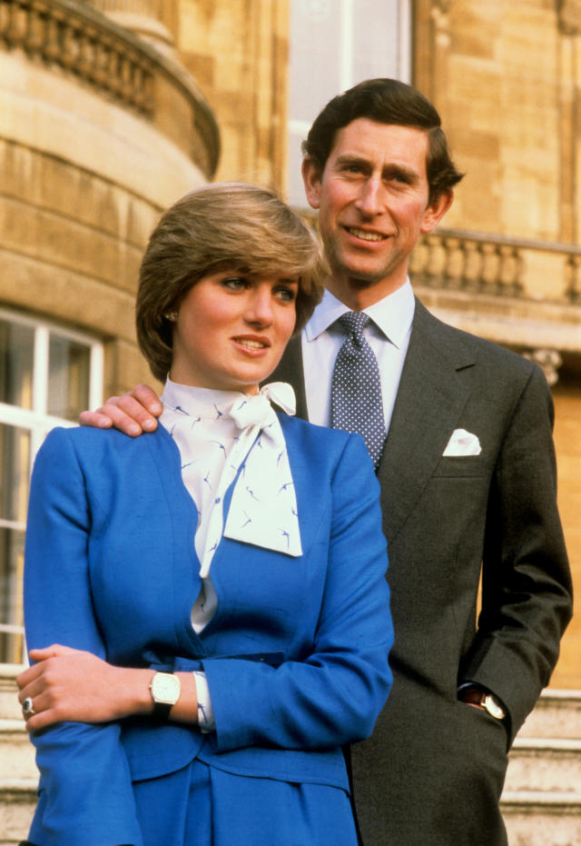 <p>Prince Charles proposed to Lady Diana Spencer on Feb. 3, 1981, with a now-famous ring with 14 solitaire diamonds surrounded by a 12-carat oval sapphire, set in 18-karat white gold. At the time, the ring reportedly cost around $36,800. Following the tragic death of Diana in 1997, her sons, Prince William and Prince Harry, chose to keep some of her most cherished possessions, including her engagement ring and a Cartier watch. Prince William proposed to Kate Middleton with his late mother's engagement ring on Oct. 20, 2010. (Photo: PA) </p>