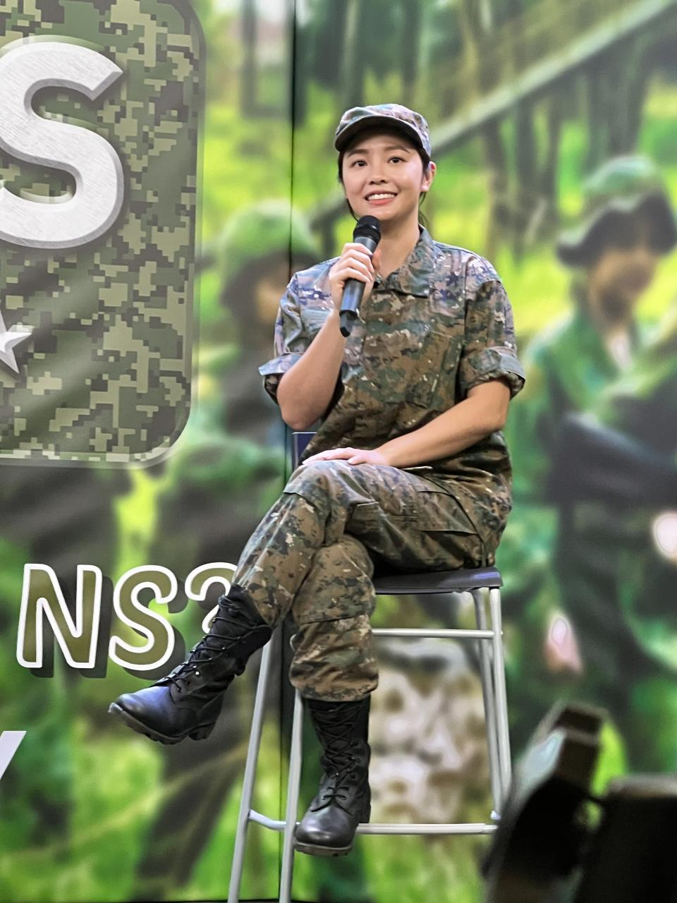Actress Apple Chan, who will star as Lieutenant Zhang Xinyi in Jack Neo's film Ah Girls Go Army, at a press conference for the film on 29 Sept 2021. (Photo: mm2 Entertainment)