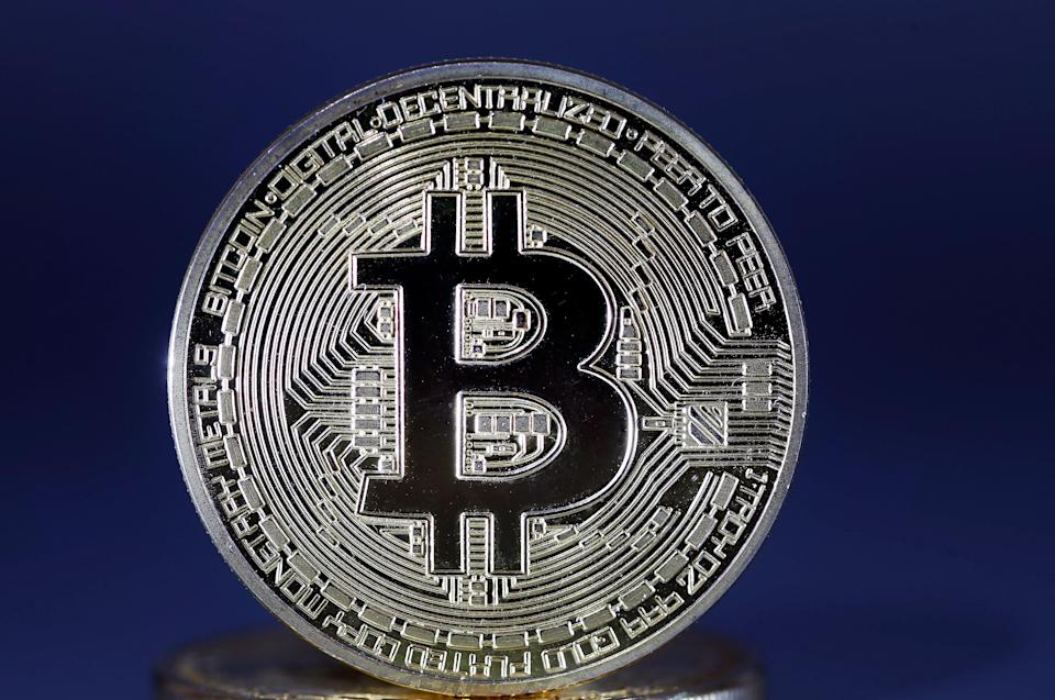 PARIS, FRANCE - APRIL 03: In this photo illustration, a visual representation of the digital Cryptocurrency, Bitcoin is displayed on April 03, 2019 in Paris, France. Bitcoin is an electronic money that has seen an incredible increase in 2017, its price has reached 20,000 euros. But, while cryptocurrency has been trading for some months around 3200 to 3500 euros, it has risen to 5000 euros since yesterday. According to one analyst, this move would be linked to a single buyer who would have passed a colossal order to make up the course. (Photo by Chesnot/Getty Images)
