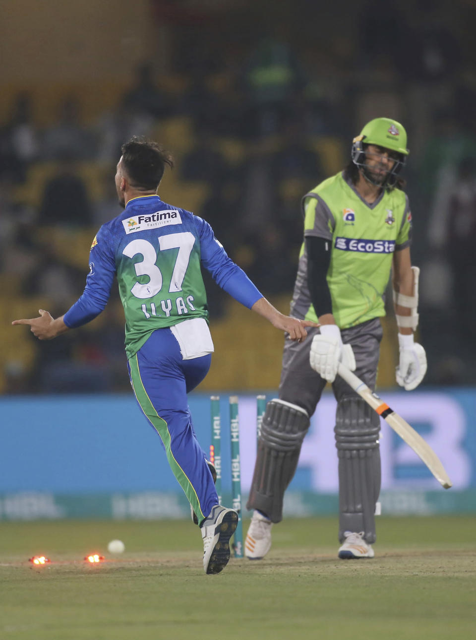 Fast bowler Muhammad Ilyas of Multan Sultans celebrates after clean bowling Lahore Qalandars' David Weise in the Pakistan Super League match in Lahore, Pakistan, Friday, Feb. 21, 2020. (AP Photo/K.M. Chaudhry)