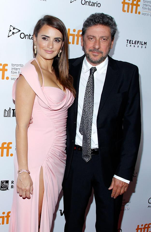 "TORONTO, ON - SEPTEMBER 13:  Actress Penelope Cruz and director Sergio Castellitto arrive at the ""Twice Born"" premiere during the 2012 Toronto International Film Festival at Roy Thomson Hall on September 13, 2012 in Toronto, Canada.  (Photo by Jemal Countess/Getty Images)"