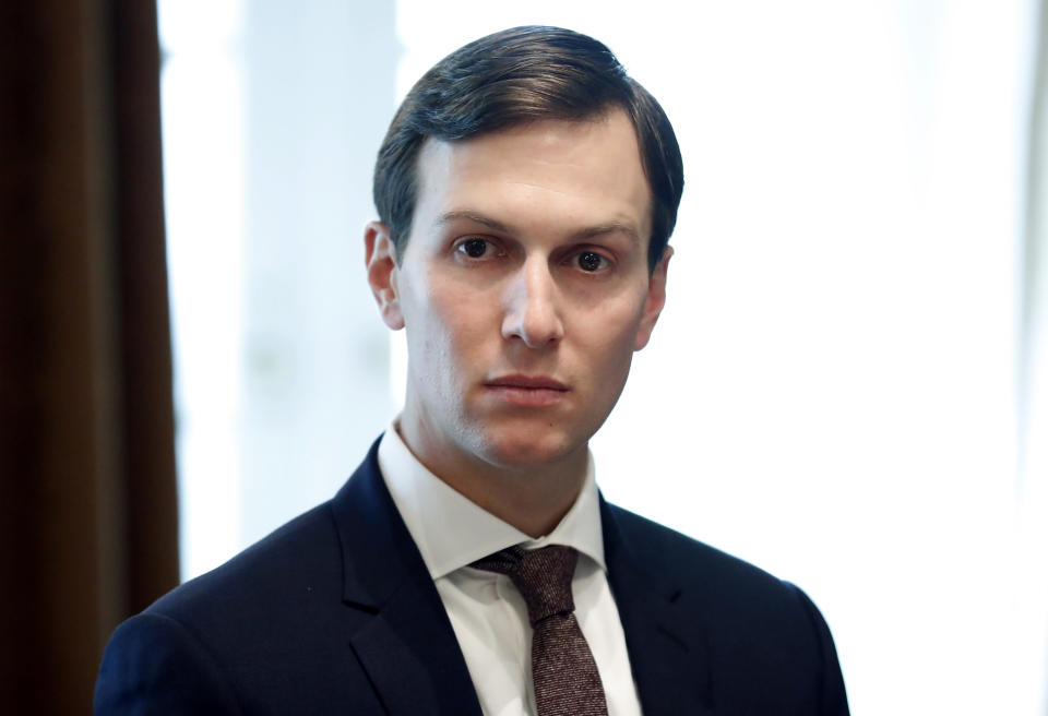 """FILE - In this Sept. 12, 2017, file photo, White House Senior Adviser Jared Kushner listens as President Donald Trump speaks during a meeting in the Cabinet Room of the White House in Washington. New York City Councilman Ritchie Torres plans to introduce a bill to close the """"Kushner loophole"""" that fails to check up on landlords if they file false documents with the city. Current regulations allow Kushner Cos to avoid strict oversight of construction that critics say was used to drive out low-paying tenants. (AP Photo/Alex Brandon, File)"""