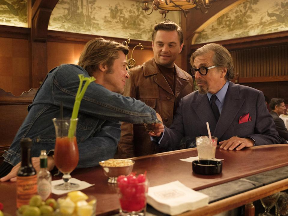 Brad Pitt, Leonardo DiCaprio, and Al Pacino in 'Once Upon a Time... in Hollywood' (Columbia/Moviestore/Shutterstock)